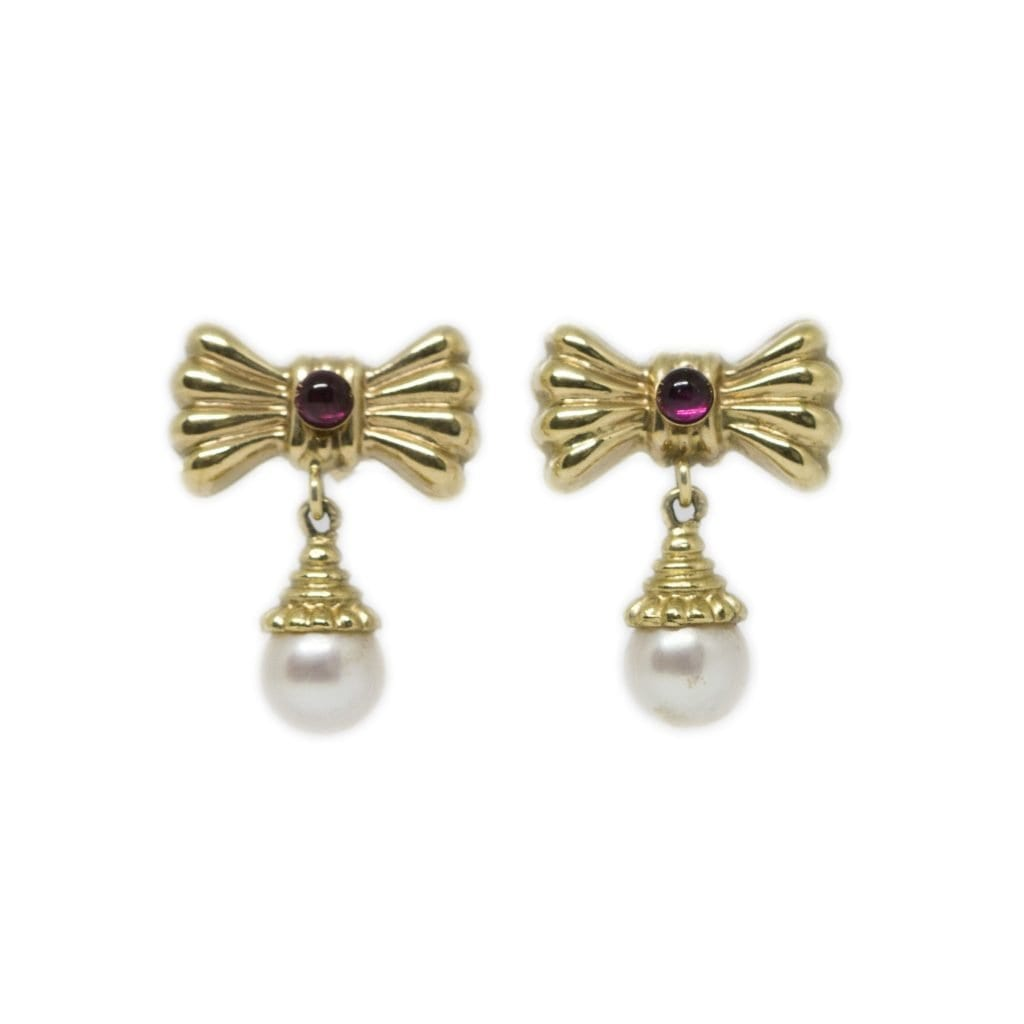 Garnet Pearl Bow Shaped Earrings Harry Merrill Son