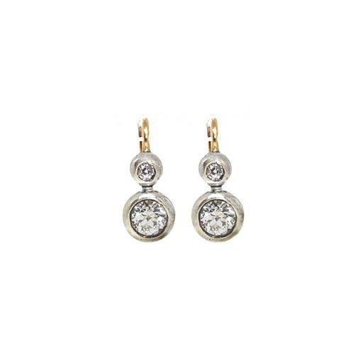Two Tone Estate Spherical Bezel Diamond Earrings