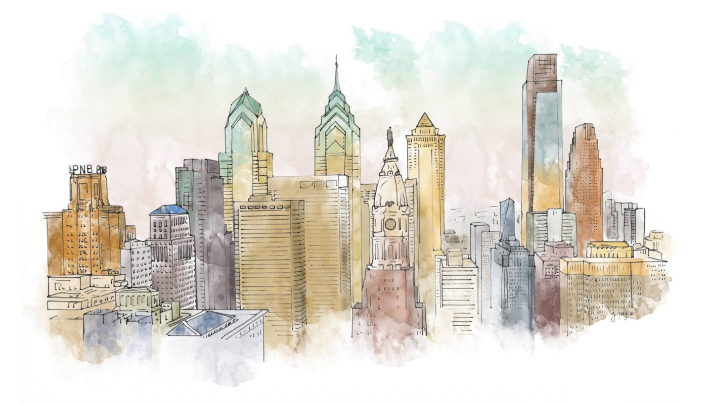 philly skyline watercolor